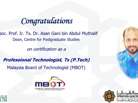CONGRATULATIONS ON CERTIFICATION ON PROFESSIONAL TECHNOLOGIST