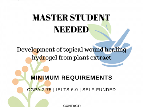 Position in Master in Pharmaceutical Technology, at Kulliyyah of Pharmacy, IIUM Indera Mahkota Campus