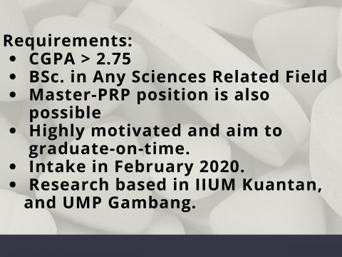 Master Student Vacancy in Pharmaceutical Technology
