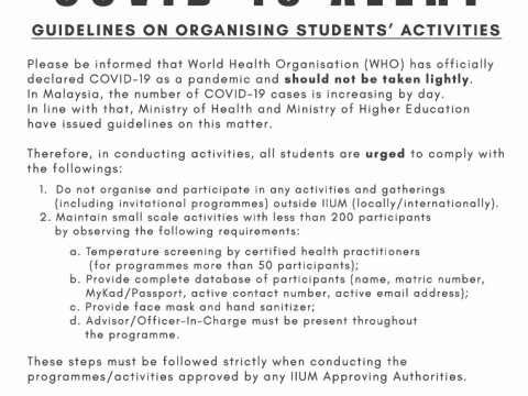 COVID 19 ALERT - GUIDELINES ON ORGANISING STUDENTS' ACTIVITIES