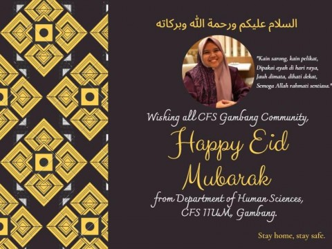 HAPPY EID MUBARAK FROM DEPARTMENT OF HUMAN SCIENCE, CFS