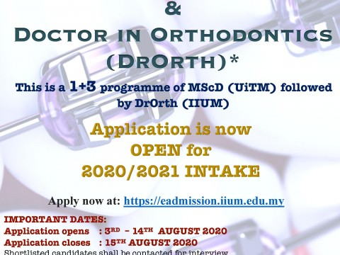 Doctor in Orthodontics (DrOrth) Program Now Opens for 2020/2021 Intake