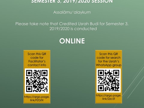 Usrah Budi Facilitators' Contact Info and WhatsApp Group, Semester 3, 2019/2020 Session