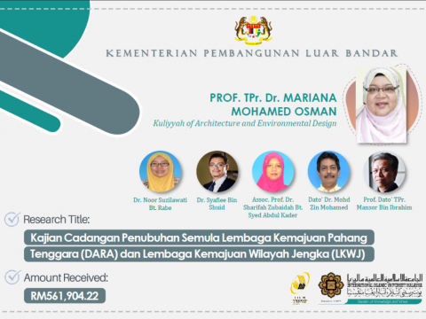Congratulations to Prof. Tpr. Dr. Mariana Mohamed Osman for successfully securing consultancy project