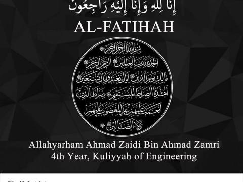 MESSAGE OF CONDELENCE - BR. AHMAD ZAIDI AHMAD ZAMRI