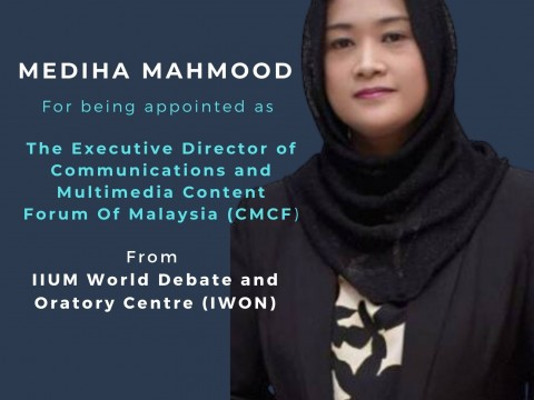 Congratulations to Mediha Mahmood, an IIUM Debate Alumnus