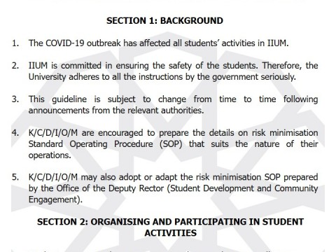 IIUM OFFICIAL GUIDELINES FOR STUDENTS' ACTIVITIES DUE TO THE CONDITIONAL MOVEMENT CONTROL ORDER (CMCO) 01/2021
