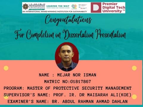 Congratulations to Br. Mejar Nor Isman