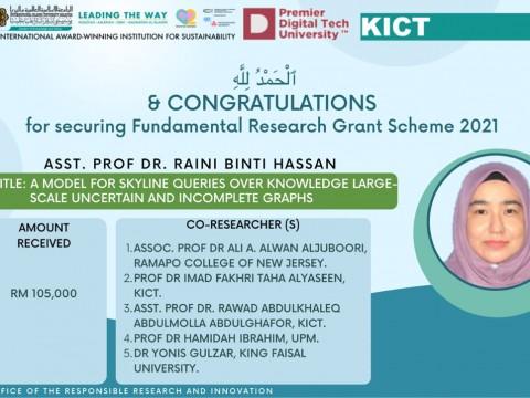 Congratulations Dr. Raini on Securing FRGS 2021