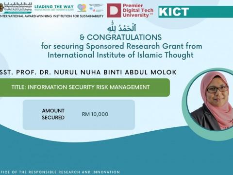 Congratulations to Asst. Prof. Dr. Nurul Nuha