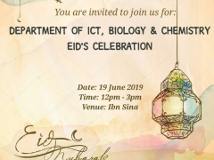 News on the Eid's celebration from Department of ICT, Biology & Chemistry