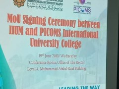 MoU Signing Ceremony between IIUM and PICOMS International University College