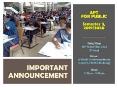 Venue for APT Public, Semester 3, 2019/2020