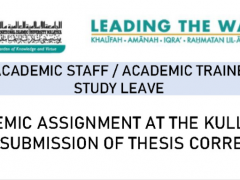Tips of the Month : Academic Assignment for Academic Staff/ Academic Trainee on Study Leave