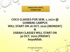 RESUMPTION OF COCU CLASSES SEM 1  SESSION 20/21 AT GOMBAK CAMPUS