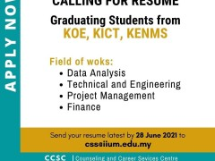 GRADUATING STUDENTS FROM KOE, KICT & KENMS: SEND YOUR RESUME!