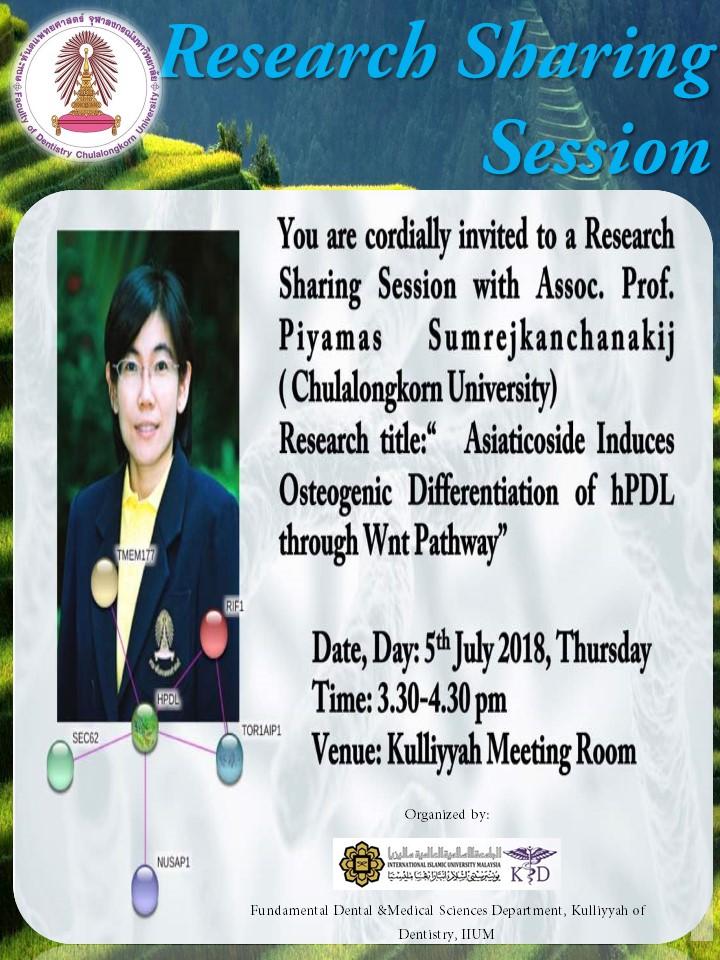 Research Sharing Session with Assoc Prof Dr Piyamas Sumrejkanchanakij (Chulalongkorn University)