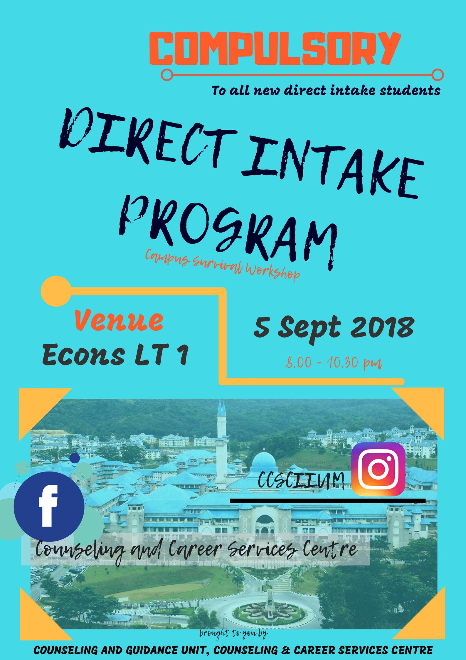 Direct Intake Program : Campus Survival Workshop