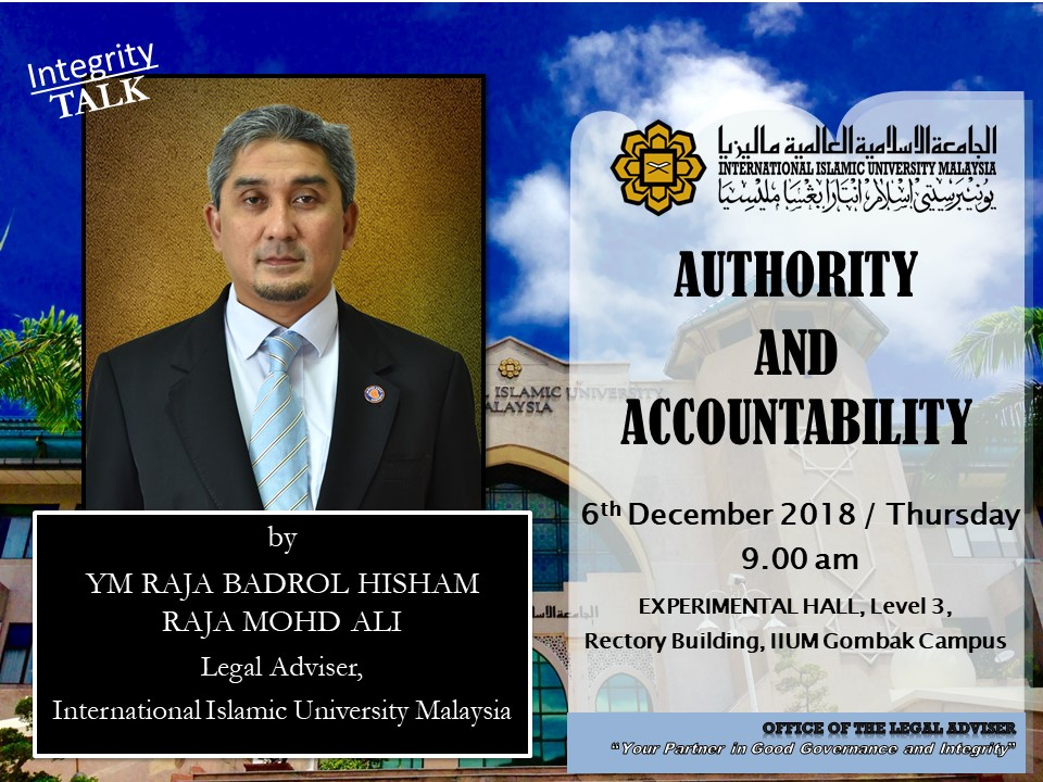 "INTEGRITY TALK: ""AUTHORITY AND ACCOUNTABILITY"""
