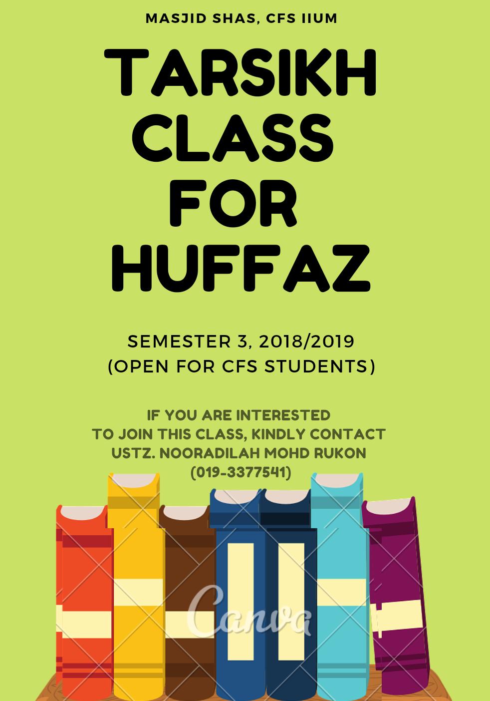 TARSIKH CLASS FOR CFS STUDENTS SEMESTER 3, 2018/2019