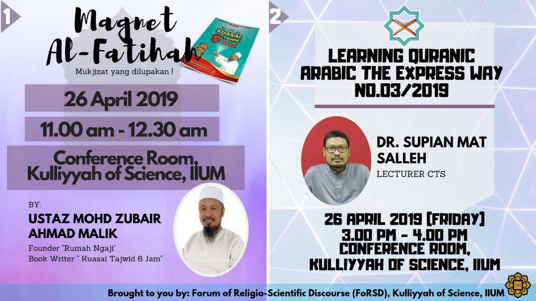FoRSD Friday Talk : Magnet Al-Fatihah & Learning Quranic Arabic The Express Way