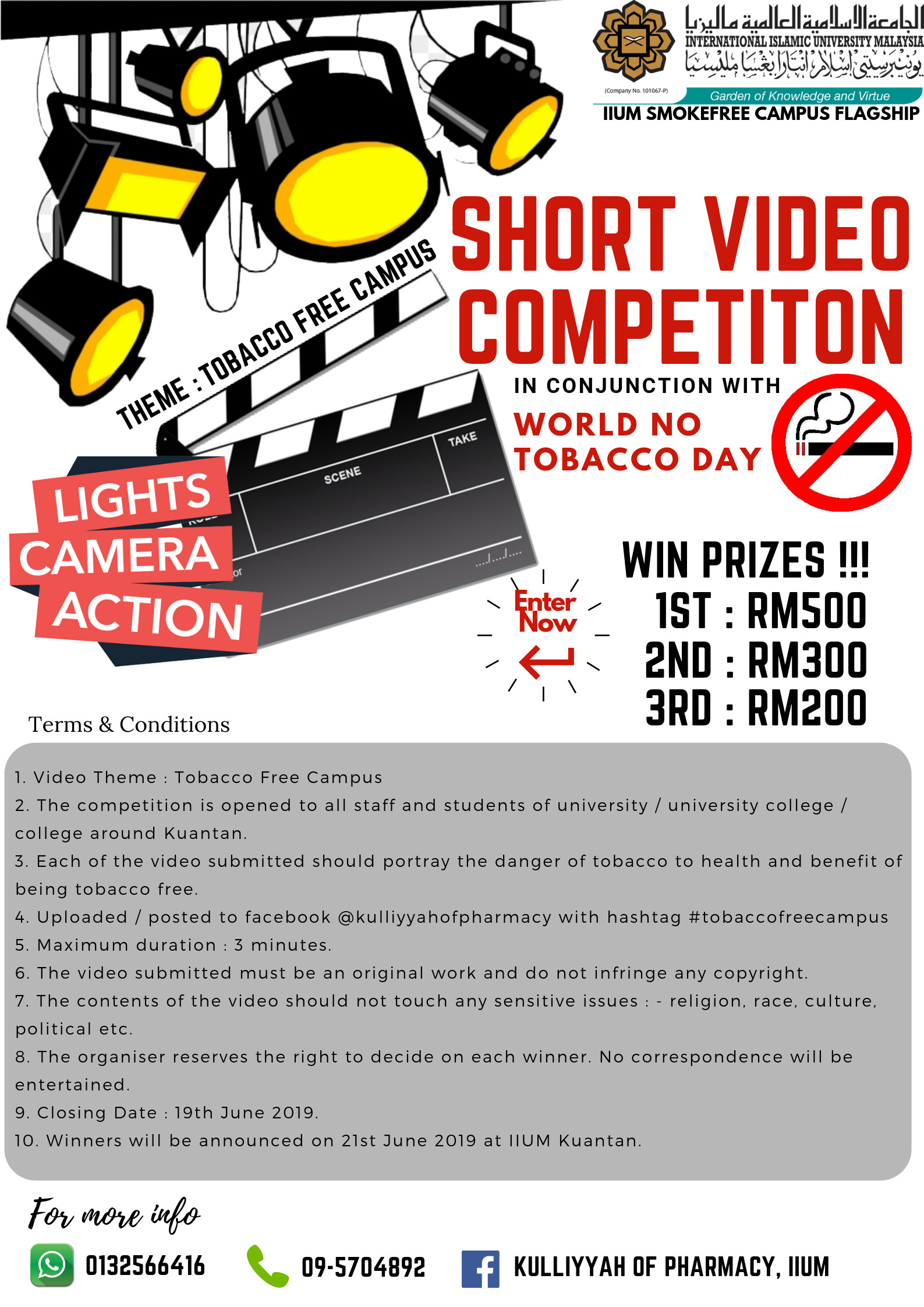 Short Video Competition in conjuction with World No Tobacco Day 2019, IIUM Kuantan