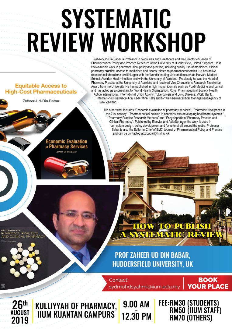Systematic Review Workshop by Prof. Zaheer-ud-din Babar