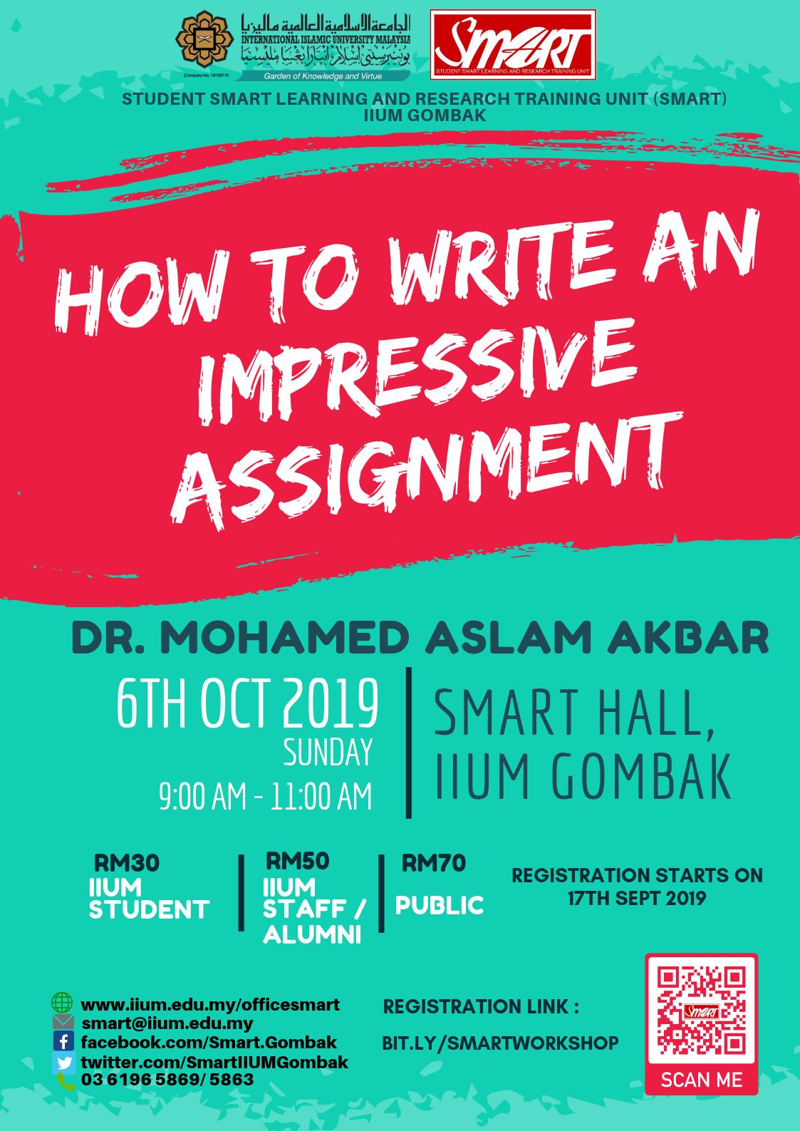 SEM 1, 19/20 - WORKSHOP - HOW TO WRITE AN IMPRESSIVE ASSIGNMENT
