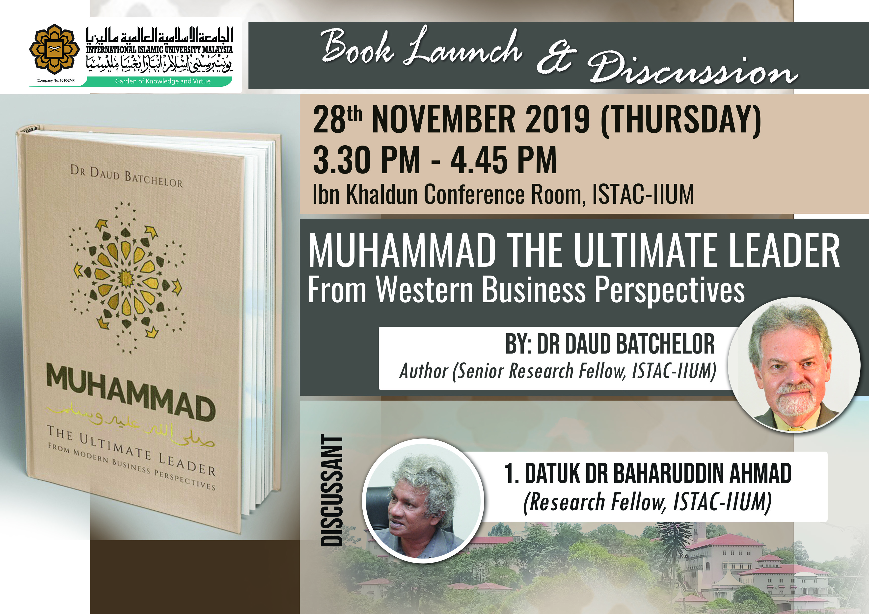 BOOK LAUNCH AND DISCUSSION - MUHAMMAD THE ULTIMATE LEADER From Western Business Perspectives