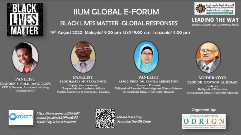 """GLOBAL E-FORUM """"BLACK LIVES MATTER : GLOBAL RESPONSES"""""""