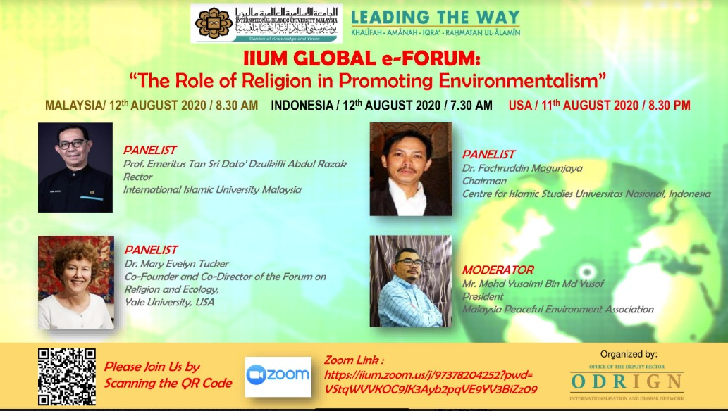 "GLOBAL E-FORUM ""THE ROLE RELIGION PLAYS IN PROMOTING ENVIRONMENTALISM"""