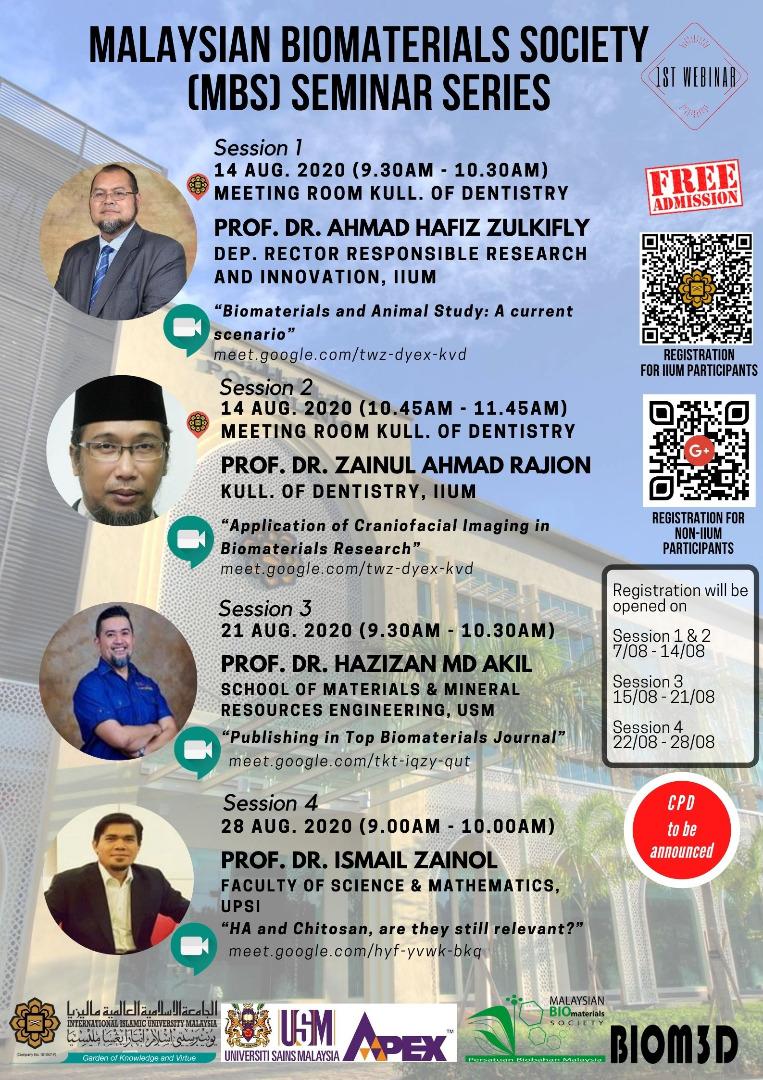 Malaysian Biomaterials Society (MBS) Seminar Series