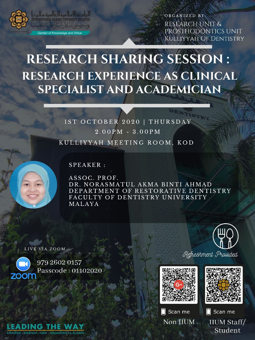 Research Sharing Session: Research Experience as Clinical Specialist and Academician