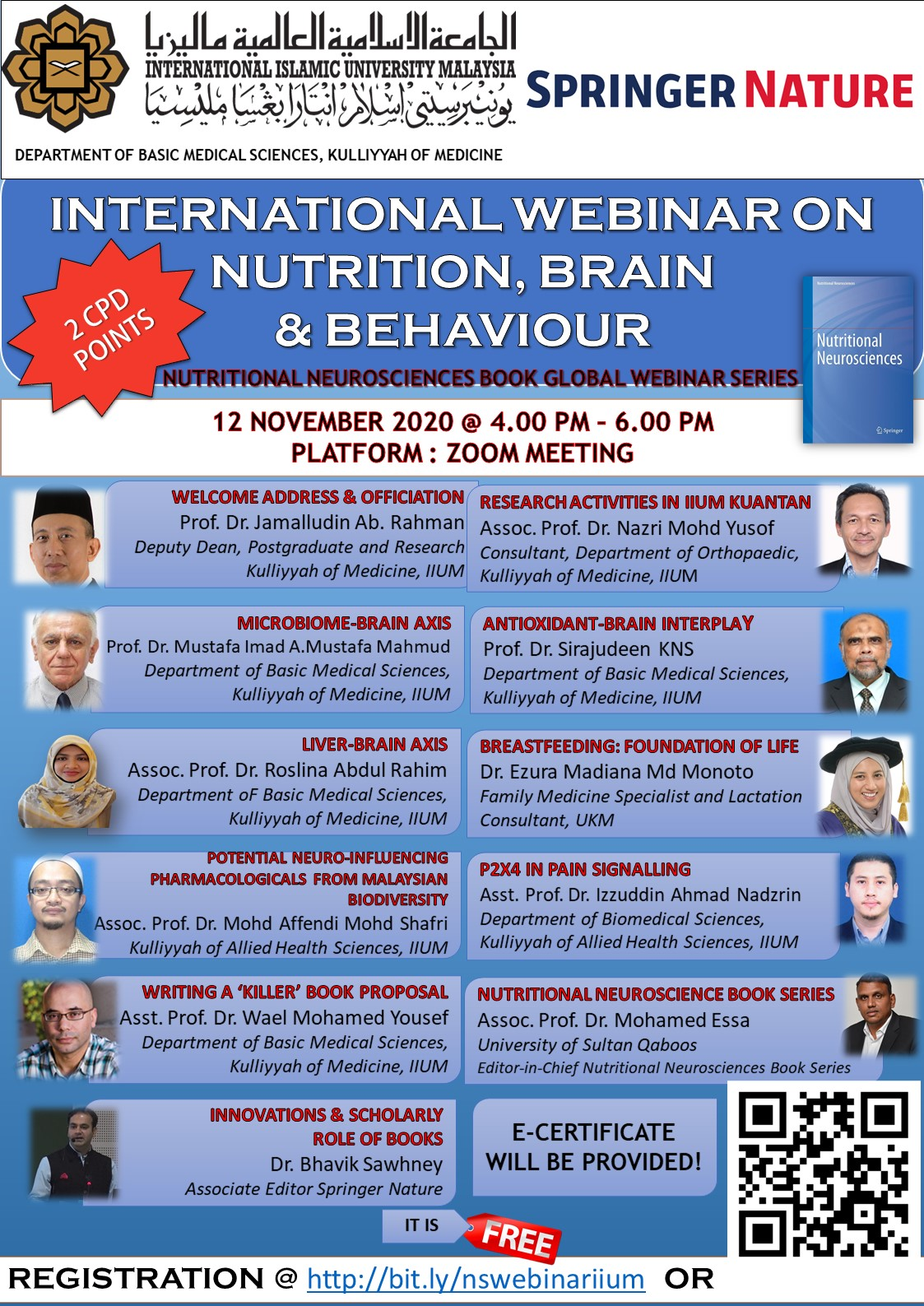 INTERNATIONAL WEBINAR ON NUTRITION, BRAIN AND BEHAVIOUR