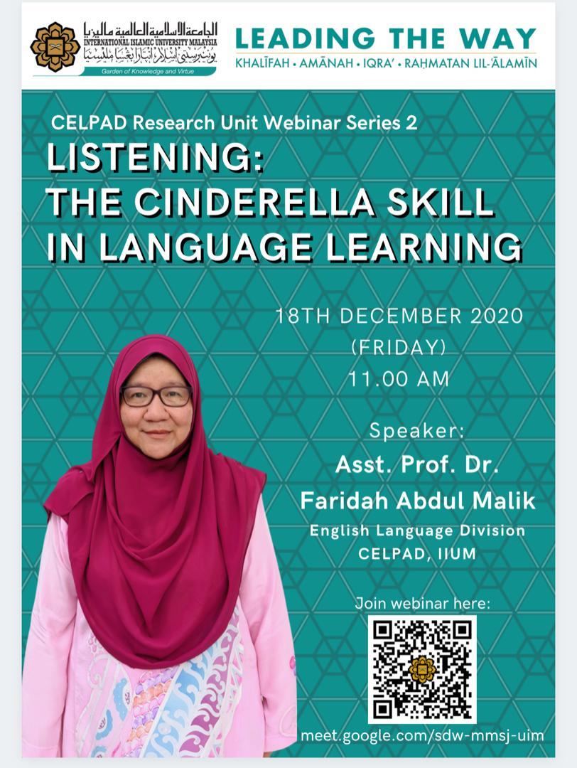 CELPAD Research Unit Webinar Series 2: Listening: The Cinderella Skill in Language Learning