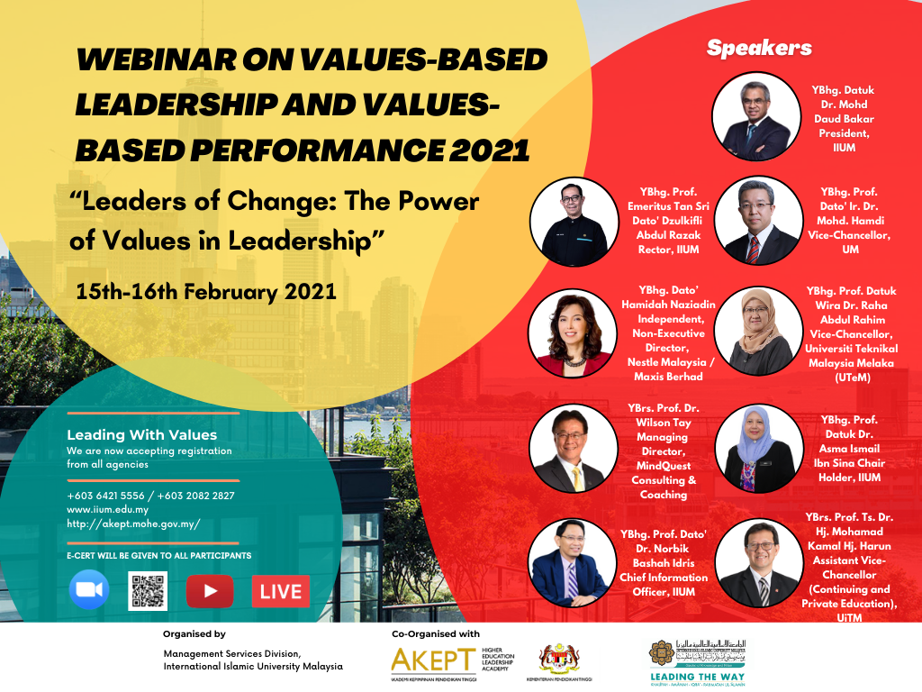 "Values-Based Leadership and Values-Based Performance 2021  ""Leaders of Change :  The Power of Values in Leadership"""