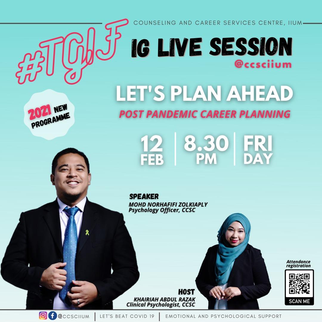 #TGIF IG LIVE SESSION @ccsciium: LET'S PLAN AHEAD