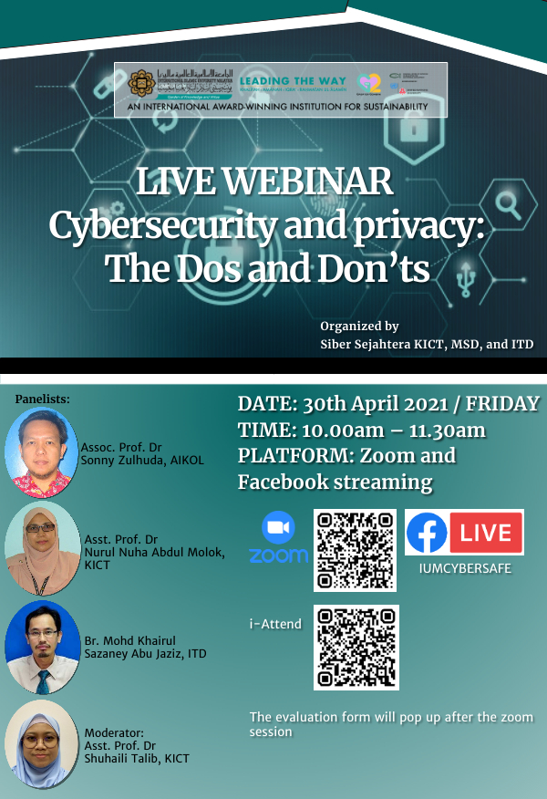 IIUM WEBINAR ON CYBERSECURITY AND PRIVACY: The Dos and Don'ts