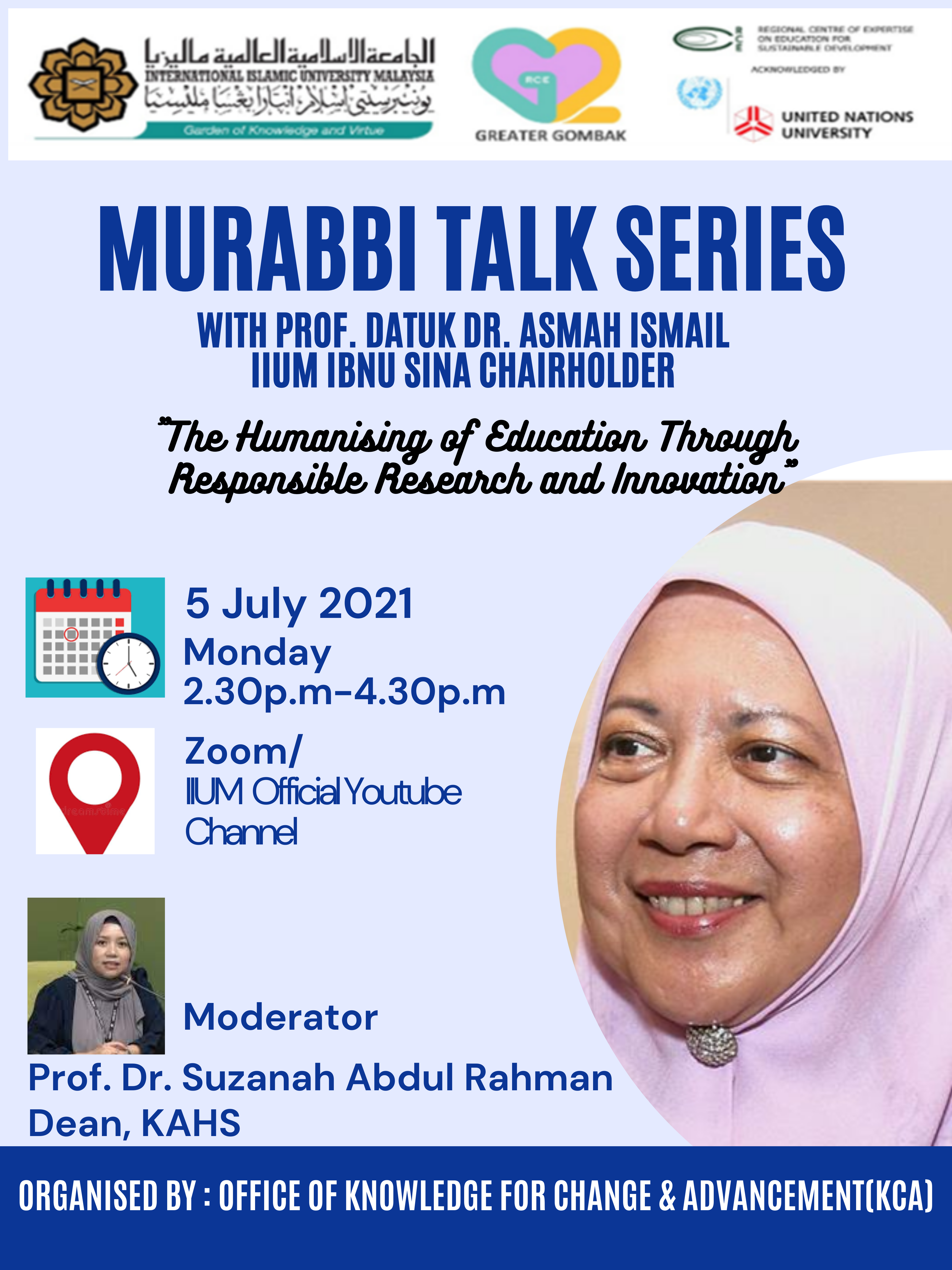 Murabbi Talk Series with Y.Bhg. Prof. Datuk Dr. Asma Ismail, Ibn Sina Chair Holder