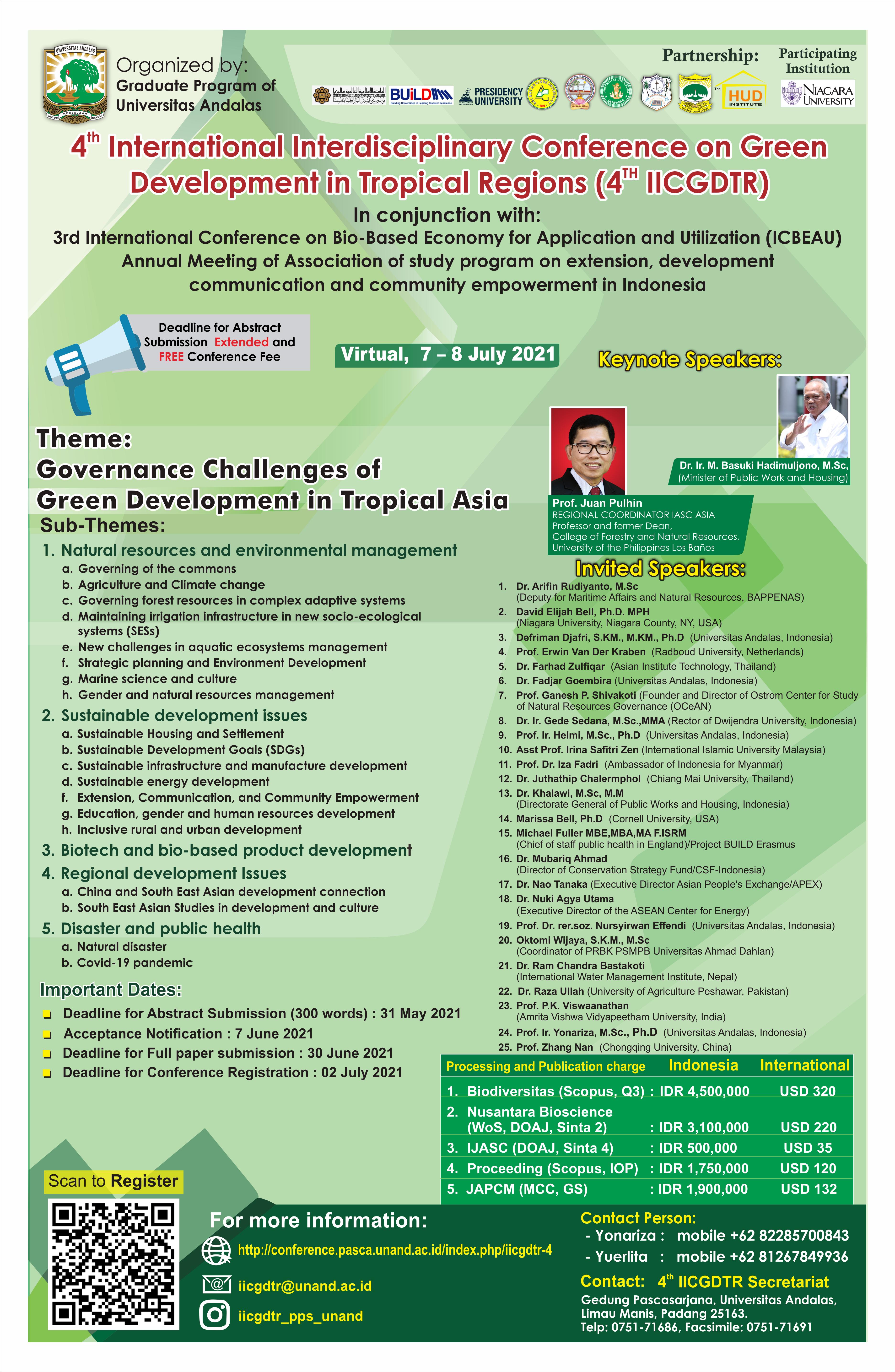 4th International Interdisciplinary Conference on Green Development in Tropical Regions (4th IICGDTR)