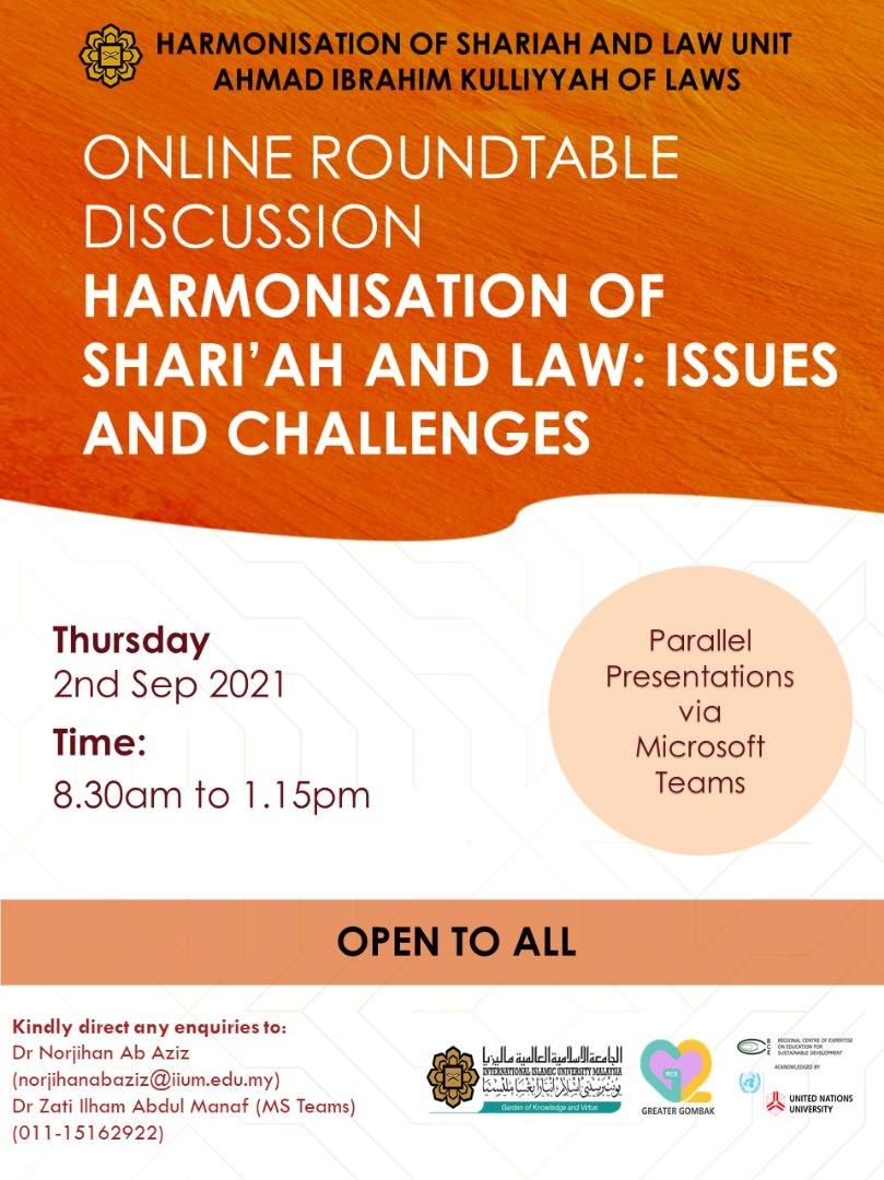 ONLINE ROUNDTABLE DISCUSSION -- HARMONISATION OF SHARI'AH LAW: ISSUES AND CHALLENGES