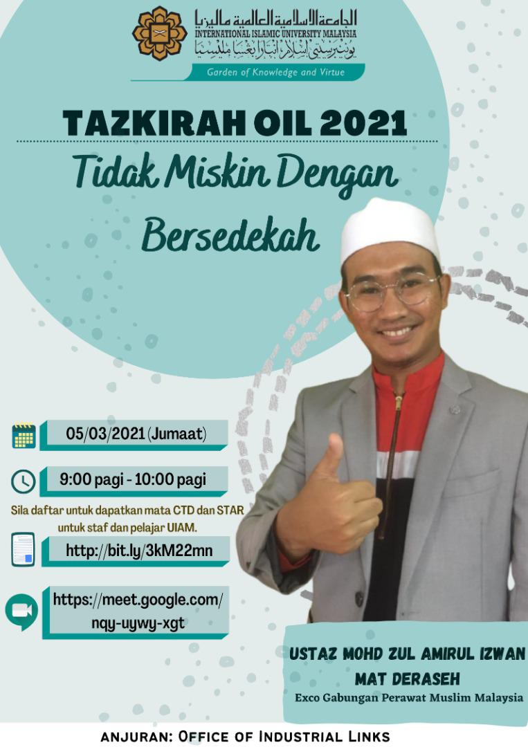 Tazkirah OIL 2021: Tidak Miskin dengan Bersedekah