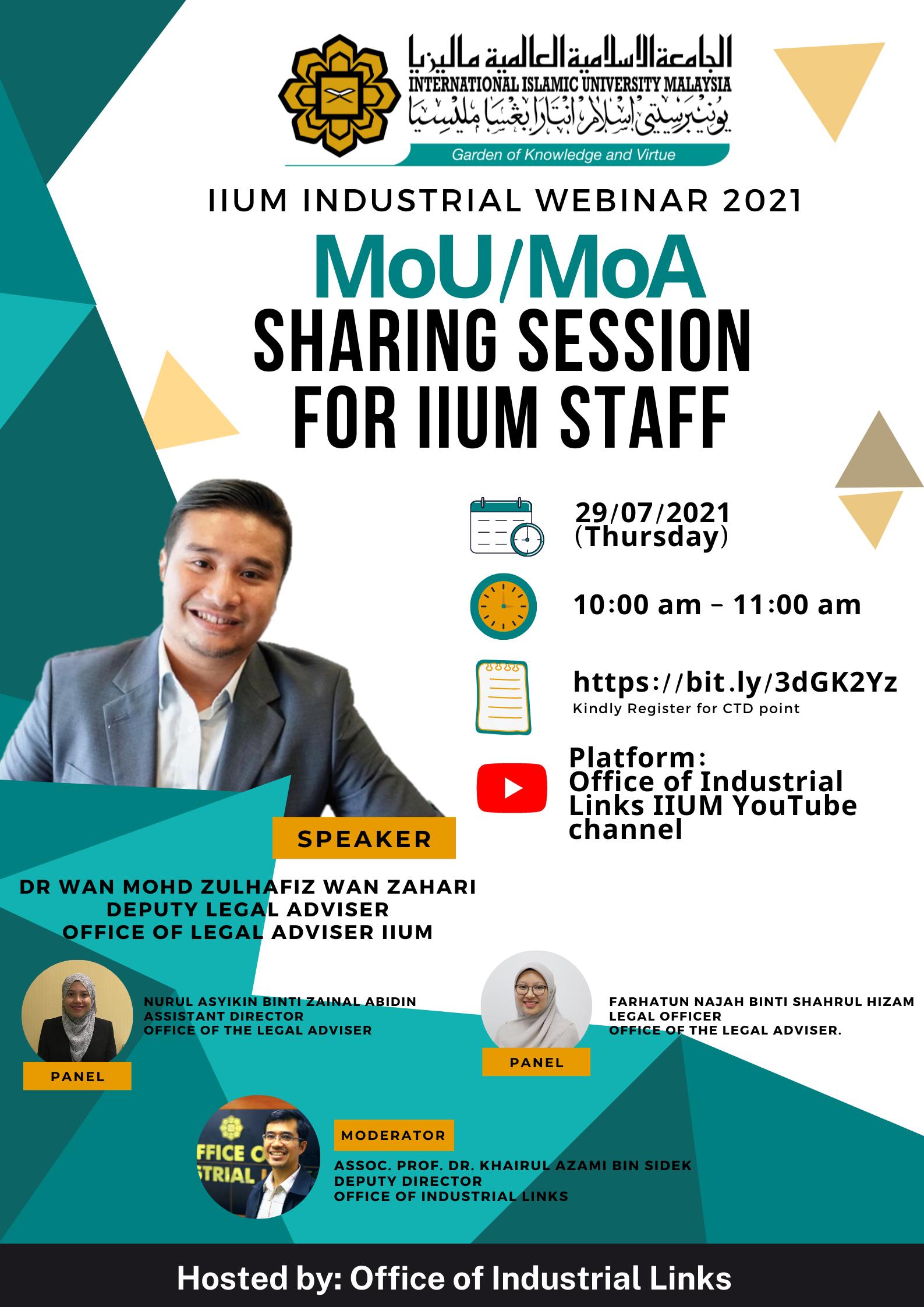 IIUM Industrial Webinar 2021: MoU/MoA Sharing Session for IIUM Staff