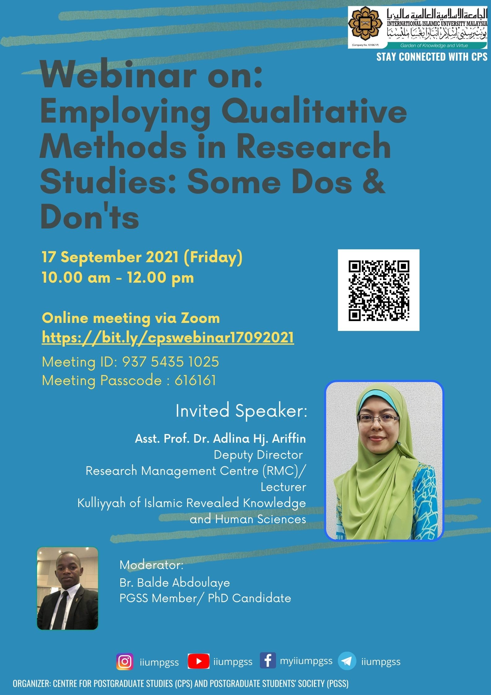 WEBINAR ON EMPLOYING QUALITATIVE METHODS IN RESEARCH STUDIES: SOME DOS & DONT'S