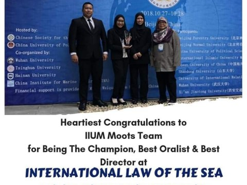 Heartiest congratulations to IIUM moots team for Being The Champion, Best Oralist & Best Director at INTERNATIONAL LAW OF THE SEA MOOT COURT COMPETITION in China