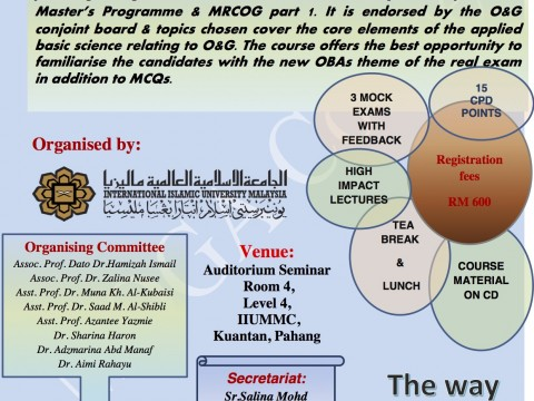 MOGA Course Obstetrics and Gynaecology Assessment Course 17h – 19th June 2019