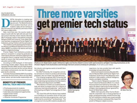 KICT has been award as one of the Premier Digital Tech institutions by MDEC.
