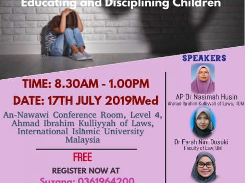 "WORKSHOP :""IS PHYSICAL DISCIPLINE NECESSARY IN EDUCATING  CHILDREN?: PROPOSING LEGAL GUIDELINES FOR  EDUCATING AND DISCIPLINING CHILDREN"""