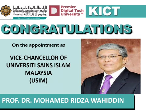Congratulations Prof Ridza as USIM Vice Chancellor