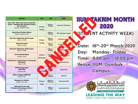Cancellation of Student Activity Week In Conjunction of IIUM Takrim Month 2020